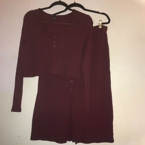 Burgundy Ribbed Henley Knit Crop & Skirt Set XXL
